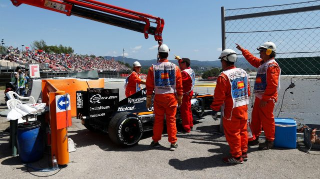 The car of Nico Hulkenberg (GER) Force India VJM09 is recovered after retiring from the race with a fire at Formula One World Championship, Rd5, Spanish Grand Prix, Race, Barcelona, Spain, Sunday 15 May 2016. &copy&#x3b; Sutton Images