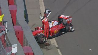 Vettel crashes out after Kvyat contact on lap one