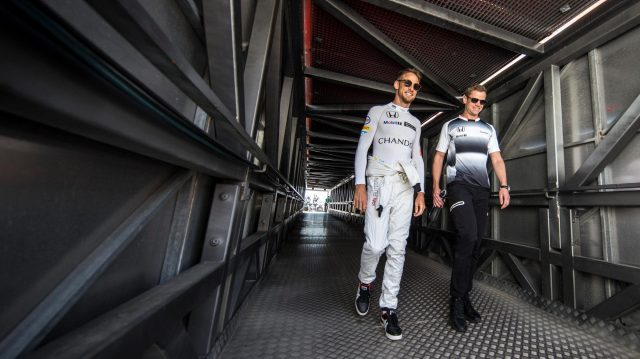Jenson Button (GBR) McLaren and trainer Mike Collier (GBR) at Formula One World Championship, Rd6, Monaco Grand Prix, Qualifying, Monte-Carlo, Monaco, Saturday 28 May 2016. &copy&#x3b; Sutton Images