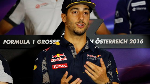 Daniel Ricciardo (AUS) Red Bull Racing in the Press Conference at Formula One World Championship, Rd9, Austrian Grand Prix, Preparations, Spielberg, Austria, Thursday 30 June 2016. &copy&#x3b; Sutton Images