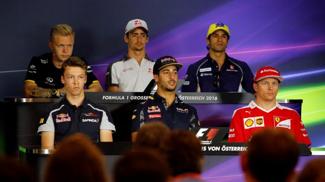 Kevin Magnussen (DEN) Renault Sport F1 Team, Daniil Kvyat (RUS) Scuderia Toro Rosso, Esteban Gutierrez (MEX) Haas F1, Felipe Nasr (BRA) Sauber, Daniel Ricciardo (AUS) Red Bull Racing and Kimi Raikkonen (FIN) Ferrari in the Press Conference at Formula One World Championship, Rd9, Austrian Grand Prix, Preparations, Spielberg, Austria, Thursday 30 June 2016. &copy&#x3b; Sutton Images