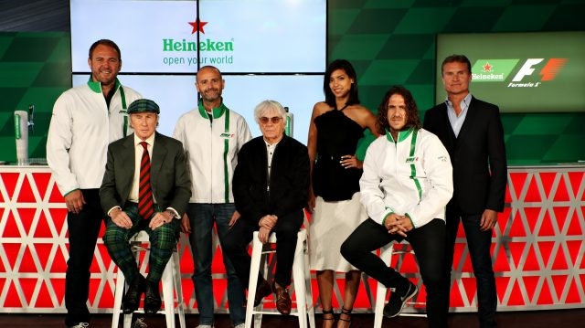 Heineken announces global partnership with Formula One Management. Pictured (back row, left to right): Scott Quinnell, Gianluca Di Tondo, Stephanie Sigman, David Coulthard, (front row left to right) Sir Jackie Stewart, Bernie Ecclestone and Carlos Puyol. &copy&#x3b; Heineken &copy&#x3b; 2016 Getty Images