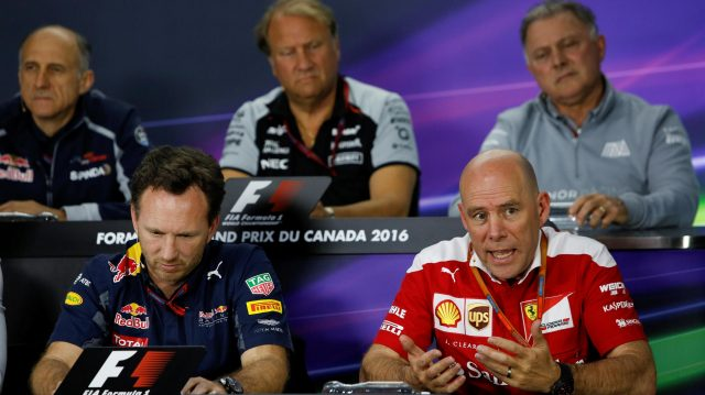 Christian Horner (GBR) Red Bull Racing Team Principal and Jock Clear (GBR) Ferrari Chief Engineer in the Press Conference at Formula One World Championship, Rd7, Canadian Grand Prix, Practice, Montreal, Canada, Friday 10 June 2016. &copy&#x3b; Sutton Images