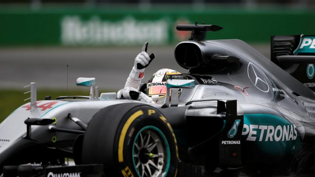 Race winner Lewis Hamilton (GBR) Mercedes-Benz F1 W07 Hybrid celebrates at the end of the race at Formula One World Championship, Rd7, Canadian Grand Prix, Race, Montreal, Canada, Sunday 12 June 2016. &copy&#x3b; Sutton Images