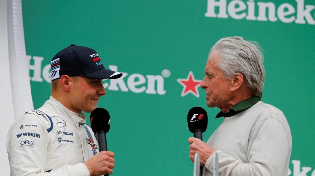 Valtteri Bottas (FIN) Williams and Michael Douglas (USA) Actor celebrate on the podium at Formula One World Championship, Rd7, Canadian Grand Prix, Race, Montreal, Canada, Sunday 12 June 2016. &copy&#x3b; Sutton Images