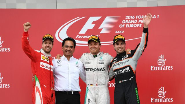 (L to R): Sebastian Vettel (GER) Ferrari, talks with Nico Rosberg (GER) Mercedes AMG F1 and Sergio Perez (MEX) Force India celebrate on the podium at Formula One World Championship, Rd8, European Grand Prix, Race, Baku City Circuit, Baku, Azerbaijan, Sunday 19 June 2016. &copy&#x3b; Sutton Images
