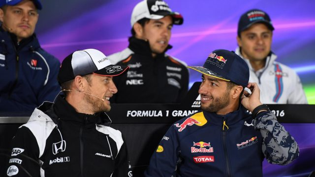 Jenson Button (GBR) McLaren and Daniel Ricciardo (AUS) Red Bull Racing in the Press Conference at Formula One World Championship, Rd7, Canadian Grand Prix, Preparations, Montreal, Canada, Thursday 9 June 2016. &copy&#x3b; Sutton Images