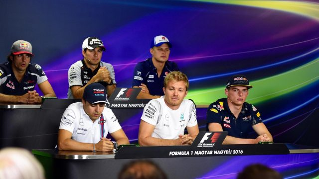 (L to R): Carlos Sainz jr (ESP) Scuderia Toro Rosso, Sergio Perez (MEX) Force India, Marcus Ericsson (SWE) Sauber, Felipe Massa (BRA) Williams, Nico Rosberg (GER) Mercedes AMG F1 and Max Verstappen (NED) Red Bull Racing in the Press Conference at Formula One World Championship, Rd11, Preparations, Hungaroring, Hungary, Thursday 21 July 2016. &copy&#x3b; Sutton Images