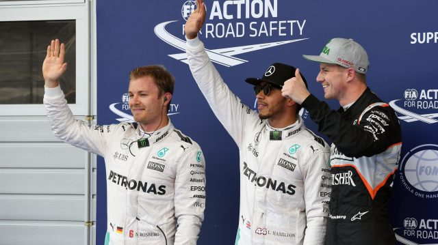 (L to R): Nico Rosberg (GER) Mercedes AMG F1, pole sitter Lewis Hamilton (GBR) Mercedes AMG F1 and Nico Hulkenberg (GER) Force India F1 celebrate in parc ferme at Formula One World Championship, Rd9, Austrian Grand Prix, Qualifying, Spielberg, Austria, Saturday 2 July 2016. &copy&#x3b; Sutton Images