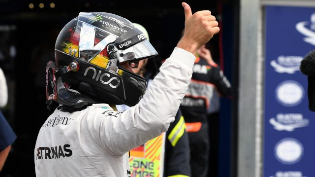 Pole sitter Nico Rosberg (GER) Mercedes AMG F1 celebrates in parc ferme at Formula One World Championship, Rd12, German Grand Prix, Qualifying, Hockenheim, Germany, Saturday 30 July 2016. &copy&#x3b; Sutton Images