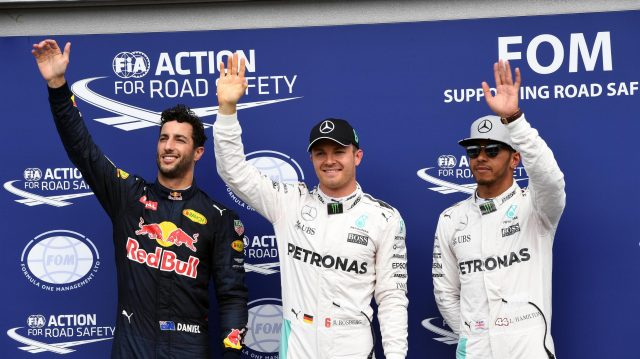(L to R): Daniel Ricciardo (AUS) Red Bull Racing, pole sitter Nico Rosberg (GER) Mercedes AMG F1 and Lewis Hamilton (GBR) Mercedes AMG F1 celebrate in parc ferme at Formula One World Championship, Rd12, German Grand Prix, Qualifying, Hockenheim, Germany, Saturday 30 July 2016. &copy&#x3b; Sutton Images