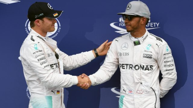 Pole sitter Nico Rosberg (GER) Mercedes AMG F1 and Lewis Hamilton (GBR) Mercedes AMG F1 celebrate oin parc ferme at Formula One World Championship, Rd12, German Grand Prix, Qualifying, Hockenheim, Germany, Saturday 30 July 2016. &copy&#x3b; Sutton Images