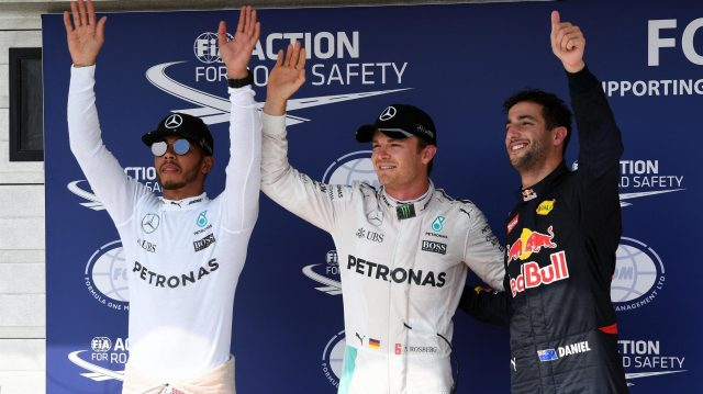 (L to R): Lewis Hamilton (GBR) Mercedes AMG F1, pole sitter Nico Rosberg (GER) Mercedes AMG F1 and Daniel Ricciardo (AUS) Red Bull Racing celebrate in parc ferme at Formula One World Championship, Rd11, Hungarian Grand Prix, Qualifying, Hungaroring, Hungary, Saturday 23 July 2016. &copy&#x3b; Sutton Images