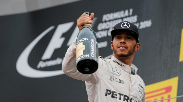 Race winner Lewis Hamilton (GBR) Mercedes AMG F1 celebrates on the podium with the champagne at Formula One World Championship, Rd9, Austrian Grand Prix, Race, Spielberg, Austria, Sunday 3 July 2016. &copy&#x3b; Sutton Images