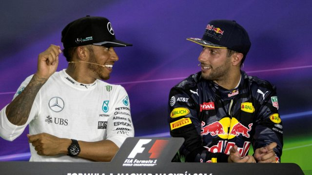 Race winner Lewis Hamilton (GBR) Mercedes AMG F1 and Daniel Ricciardo (AUS) Red Bull Racing in the Press Conference at Formula One World Championship, Rd11, Hungarian Grand Prix, Race, Hungaroring, Hungary, Sunday 24 July 2016. &copy&#x3b; Sutton Images