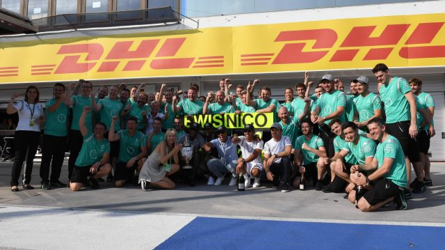Race winner Lewis Hamilton (GBR) Mercedes AMG F1 celebrates with the team and Nico Rosberg (GER) Mercedes AMG F1 at Formula One World Championship, Rd11, Hungarian Grand Prix, Race, Hungaroring, Hungary, Sunday 24 July 2016. &copy&#x3b; Sutton Images
