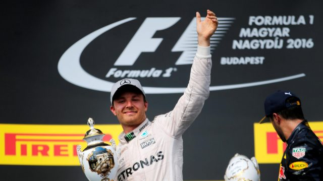Nico Rosberg (GER) Mercedes AMG F1 celebrates on the podium with the trophy at Formula One World Championship, Rd11, Hungarian Grand Prix, Race, Hungaroring, Hungary, Sunday 24 July 2016. &copy&#x3b; Sutton Images