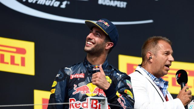 Daniel Ricciardo (AUS) Red Bull Racing celebrates on the podium at Formula One World Championship, Rd11, Hungarian Grand Prix, Race, Hungaroring, Hungary, Sunday 24 July 2016. &copy&#x3b; Sutton Images