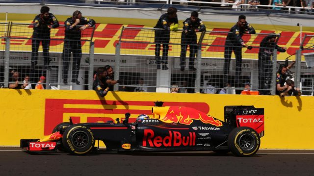 Third placed Daniel Ricciardo (AUS) Red Bull Racing RB12 crosses the line at Formula One World Championship, Rd11, Hungarian Grand Prix, Race, Hungaroring, Hungary, Sunday 24 July 2016. &copy&#x3b; Sutton Images