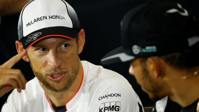 Jenson Button (GBR) McLaren and Lewis Hamilton (GBR) Mercedes AMG F1 in the Press Conference at Formula One World Championship, Rd10, British Grand Prix, Preparations, Silverstone, England, Thursday 7 July 2016. &copy&#x3b; Sutton Images