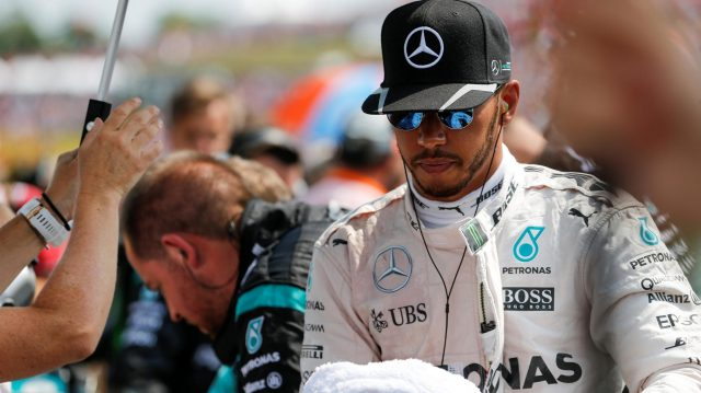 Lewis Hamilton (GBR) Mercedes AMG F1 on the grid at Formula One World Championship, Rd11, Hungarian Grand Prix, Race, Hungaroring, Hungary, Sunday 24 July 2016. &copy&#x3b; Sutton Images