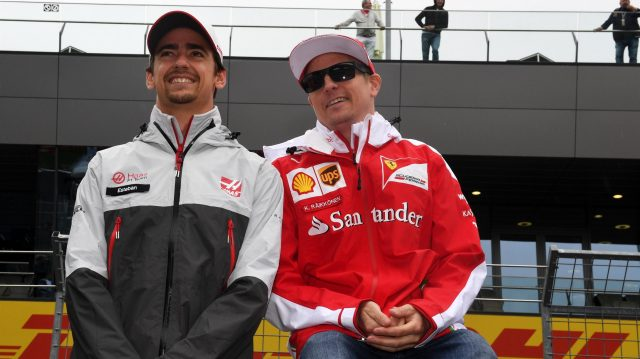 Esteban Gutierrez (MEX) Haas F1 and Kimi Raikkonen (FIN) Ferrari on the drivers parade at Formula One World Championship, Rd9, Austrian Grand Prix, Race, Spielberg, Austria, Sunday 3 July 2016. &copy&#x3b; Sutton Images
