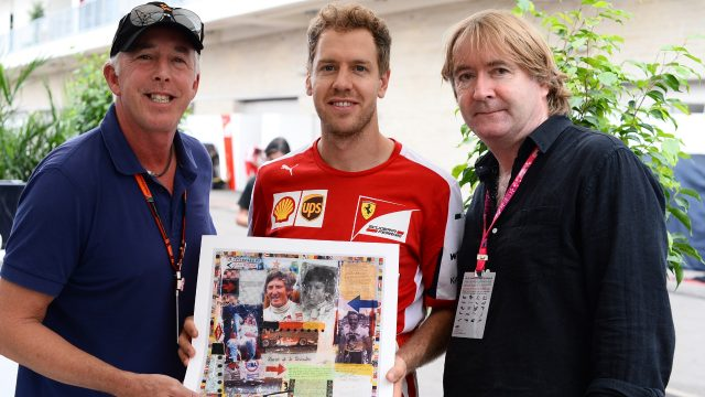 Keith Sutton (GBR) Sutton Images CEO, Sebastian Vettel (GER) Ferrari and Mark Dickens (GBR) Artist with the Jochen Rindt World Champions in Art depiction at Formula One World Championship, Rd16, United States  Grand Prix, Preparations, Austin, Texas, USA, Thursday 22 October 2015. &copy&#x3b; Sutton Motorsport Images