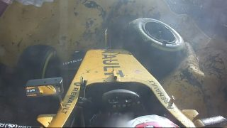 Magnussen walks away from huge crash