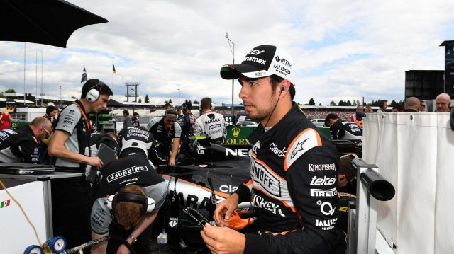 Sergio Perez (MEX) Force India on the grid at Formula One World Championship, Rd12, German Grand Prix, Race, Hockenheim, Germany, Sunday 31 July 2016. &copy&#x3b; Sutton Images