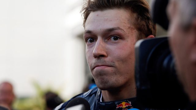 Daniil Kvyat (RUS) Red Bull Racing talks to the media at Formula One World Championship, Rd4, Russian Grand Prix, Race, Sochi Autodrom, Sochi, Krasnodar Krai, Russia, Sunday 1 May 2016.