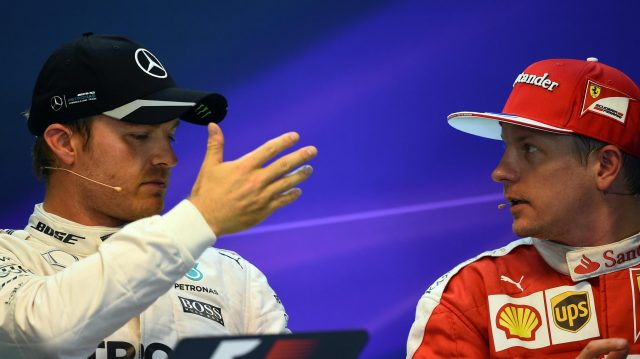 Pole sitter Nico Rosberg (GER) Mercedes AMG F1 and Kimi Raikkonen (FIN) Ferrari in the Press Conference at Formula One World Championship, Rd13, Belgian Grand Prix, Qualifying, Spa Francorchamps, Belgium, Saturday 27 August 2016. &copy&#x3b; Sutton Images