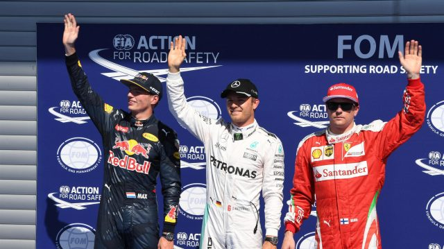(L to R): Max Verstappen (NED) Red Bull Racing, pole sitter Nico Rosberg (GER) Mercedes AMG F1 and Kimi Raikkonen (FIN) Ferrari celebrate in parc ferme at Formula One World Championship, Rd13, Belgian Grand Prix, Qualifying, Spa Francorchamps, Belgium, Saturday 27 August 2016. &copy&#x3b; Sutton Images