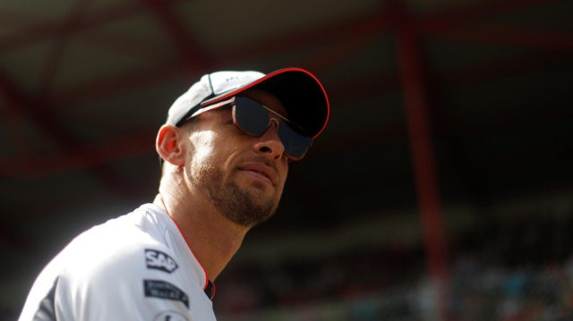Jenson Button (GBR) McLaren on the drivers parade at Formula One World Championship, Rd13, Belgian Grand Prix, Race, Spa Francorchamps, Belgium, Sunday 28 August 2016. &copy&#x3b; Sutton Images