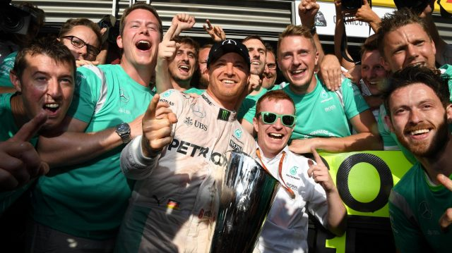 Race winner Nico Rosberg (GER) Mercedes AMG F1 celebrates with the team at Formula One World Championship, Rd13, Belgian Grand Prix, Race, Spa Francorchamps, Belgium, Sunday 28 August 2016. &copy&#x3b; Sutton Images