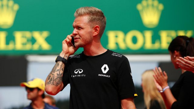 Kevin Magnussen (DEN) Renault Sport F1 Team on the drivers parade at Formula One World Championship, Rd13, Belgian Grand Prix, Race, Spa Francorchamps, Belgium, Sunday 28 August 2016. &copy&#x3b; Sutton Images