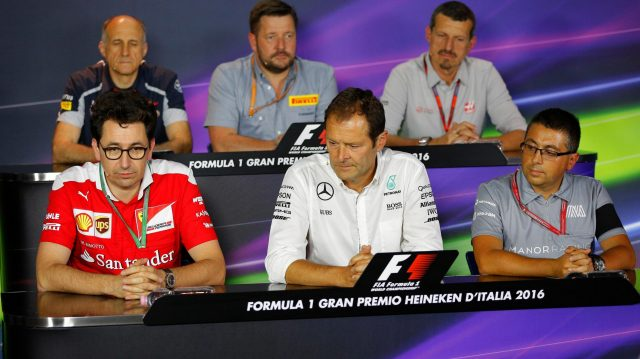 (L to R): Franz Tost (AUT) Scuderia Toro Rosso Team Principal, Mattia Binotto (ITA) Ferrari Chief technical Officer, Paul Hembery (GBR) Pirelli Motorsport Director, Aldo Costa (ITA) Mercedes AMG F1 Engineering Director, Guenther Steiner (ITA) Haas F1 Team Prinicipal and Luca Furbatto (ITA) Manor Chief Designer in the Press Conference at Formula One World Championship, Rd14, Italian Grand Prix, Practice, Monza, Italy, Friday 2 September 2016. &copy&#x3b; Sutton Images