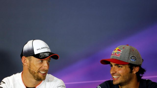 Jenson Button (GBR) McLaren and Carlos Sainz jr (ESP) Scuderia Toro Rosso in the Press Conference at Formula One World Championship, Rd14, Italian Grand Prix, Preparations, Monza, Italy, Thursday 1 September 2016. &copy&#x3b; Sutton Images