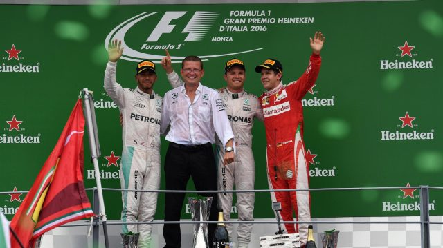 (L to R): Lewis Hamilton (GBR) Mercedes AMG F1, Simon Cole (GBR) Mercedes AMG F1 Chief Track Engineer, Nico Rosberg (GER) Mercedes AMG F1 and Sebastian Vettel (GER) Ferrari celebrate on the podium at Formula One World Championship, Rd14, Italian Grand Prix, Race, Monza, Italy, Sunday 4 September 2016. &copy&#x3b; Sutton Images