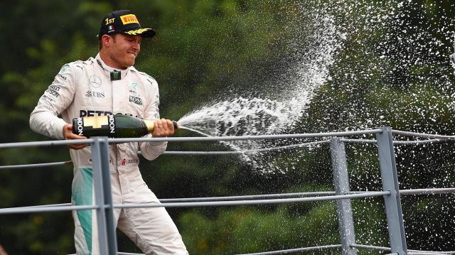 Race winner Nico Rosberg (GER) Mercedes AMG F1 celebrates on the podium with the champagne at Formula One World Championship, Rd14, Italian Grand Prix, Race, Monza, Italy, Sunday 4 September 2016. &copy&#x3b; Sutton Images