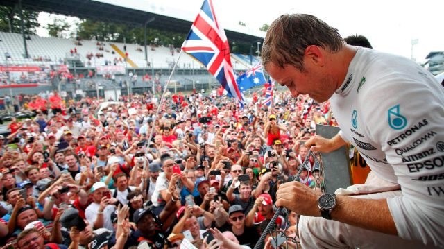 Race winner Nico Rosberg (GER) Mercedes AMG F1 celebrates with the fans at Formula One World Championship, Rd14, Italian Grand Prix, Race, Monza, Italy, Sunday 4 September 2016. &copy&#x3b; Sutton Images