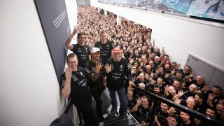Mercedes welcome Hamilton home with 'Guard of honour'