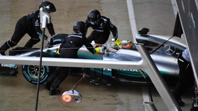 Lewis Hamilton (GBR) Mercedes-Benz F1 W08 Hybrid at Mercedes-Benz F1 W08 Hybrid First Run, Silverstone, England, 23 February 2017. © Sutton Images