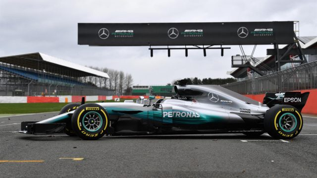 The new Mercedes-Benz F1 W08 Hybrid at Mercedes-Benz F1 W08 Hybrid Launch, Silverstone, England, 23 February 2017. &copy&#x3b; Sutton Images