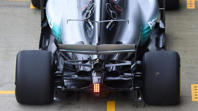 Valtteri Bottas (FIN) Mercedes-Benz F1 W08 Hybrid with rear wing aero detail at Mercedes-Benz F1 W08 Hybrid First Run, Silverstone, England, 23 February 2017. &copy&#x3b; Sutton Images