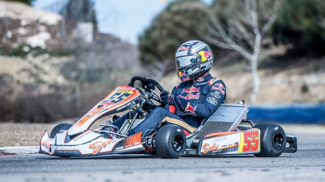 Carlos Sainz karting in his specially weighted helmet in Spain. &copy&#x3b; Oscar Carrascosa/Red Bull Content Pool