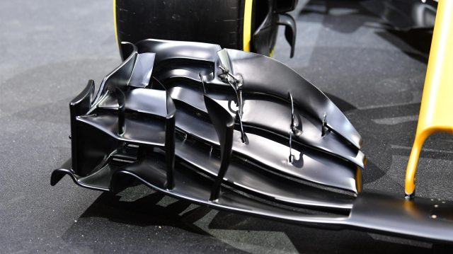 The new Renault Sport F1 Team RS17 front wing detail at Renault Sport F1 Team RS17 Reveal, The Lindley Hall, London, England, 21 February 2017. &copy&#x3b; Sutton Images