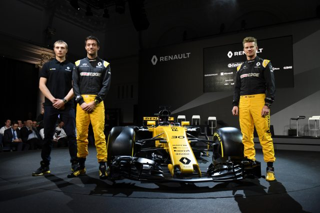 Sergey Sirotkin (RUS) Renault Sport F1 Team Test Driver, Jolyon Palmer (GBR) Renault Sport F1 Team and Nico Hulkenberg (GER) Renault Sport F1 Team with the new Renault Sport F1 Team RS17 at Renault Sport F1 Team RS17 Reveal, The Lindley Hall, London, England, 21 February 2017. &copy&#x3b; Sutton Images