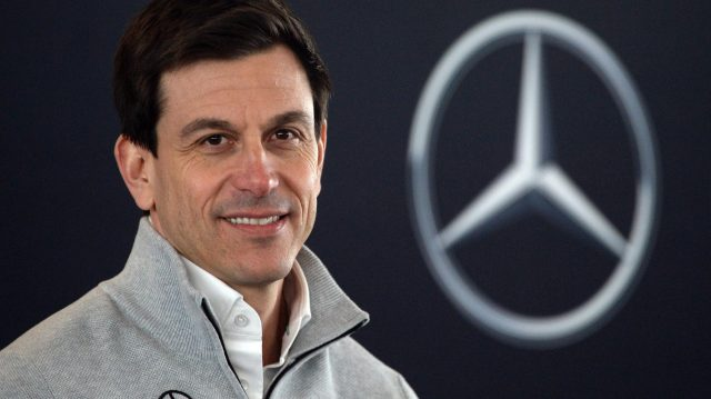Toto Wolff (AUT) Mercedes AMG F1 Director of Motorsport during the Press Conference at Mercedes-Benz F1 W08 Hybrid Launch, Silverstone, England, 23 February 2017. &copy&#x3b; Sutton Images