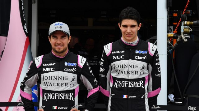 Sergio Perez (MEX) Force India and Esteban Ocon (FRA) Force India F1 at Formula One World Championship, Rd1, Australian Grand Prix, Practice, Albert Park, Melbourne, Australia, Friday 24 March 2017. &copy&#x3b; Sutton Motorsport Images