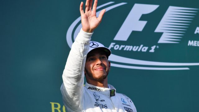 Lewis Hamilton (GBR) Mercedes AMG F1 celebrates on the podium at Formula One World Championship, Rd1, Australian Grand Prix, Race, Albert Park, Melbourne, Australia, Sunday 26 March 2017. &copy&#x3b; Sutton Motorsport Images